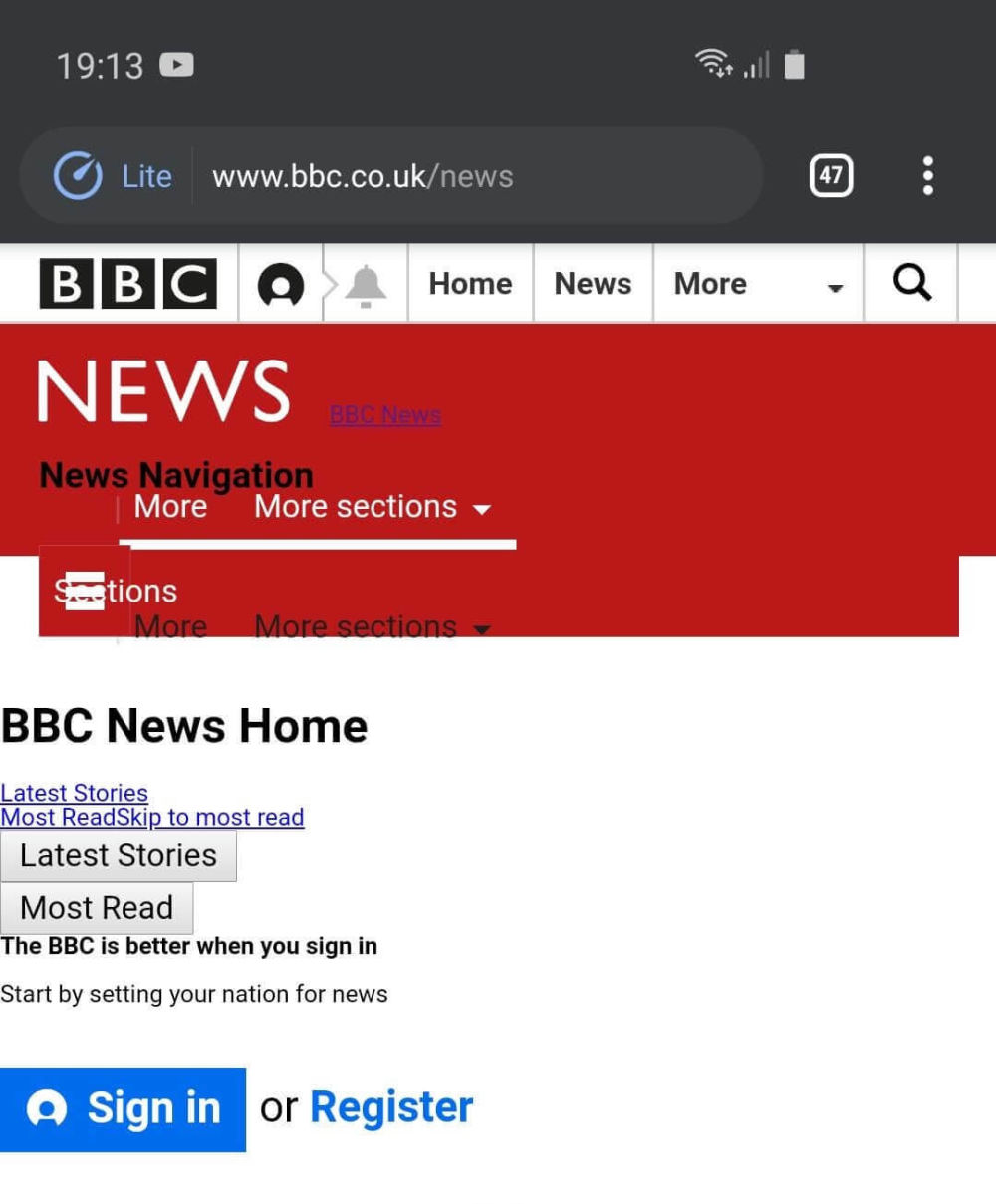 screenshot of bbc loading with an odd layout in lite mode