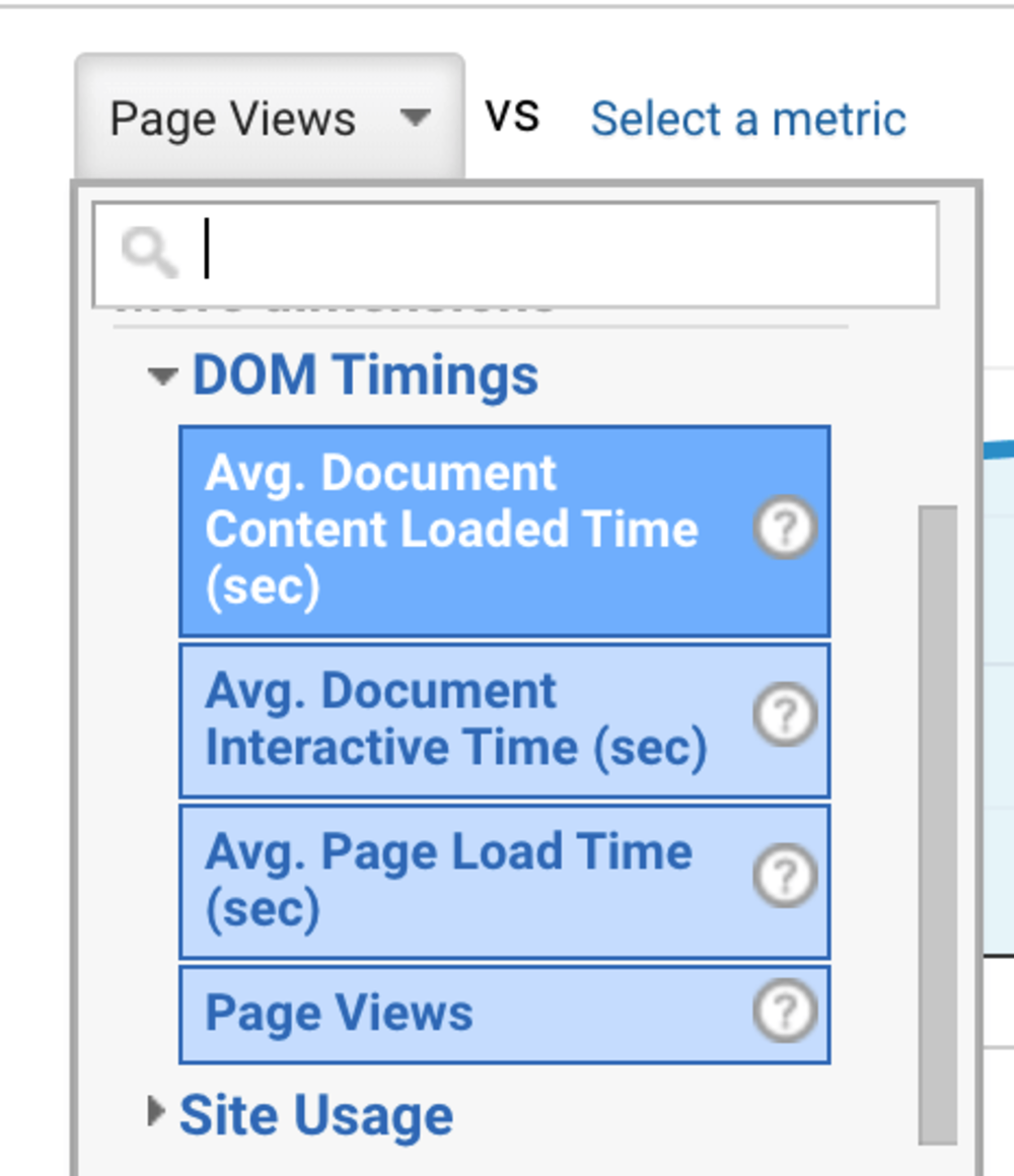 Google Analytics screenshot showing the list of timers: dom content loaded, dom interactive and page load time