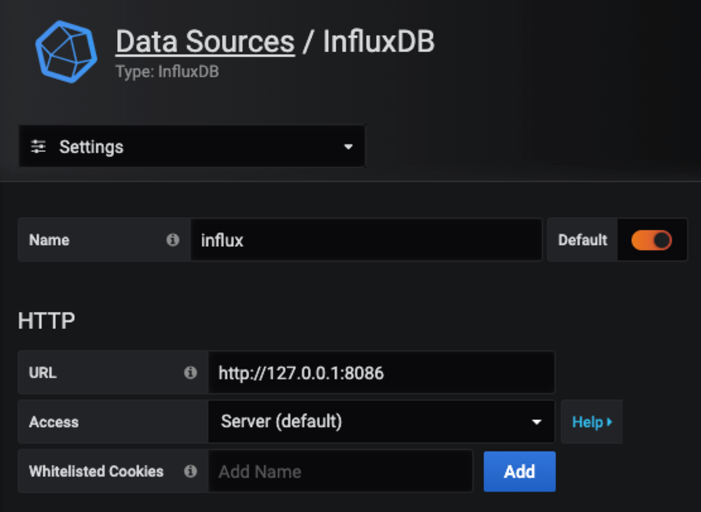 Grafana configuration for influxdb 1
