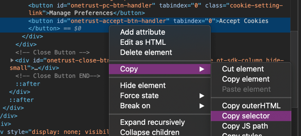 Right-click context menu in developer tools showing copy selector option
