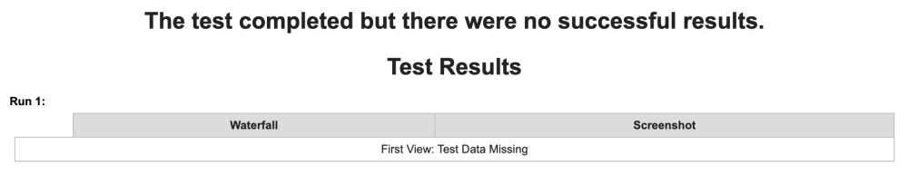 WebPageTest Private - 'no successful results'